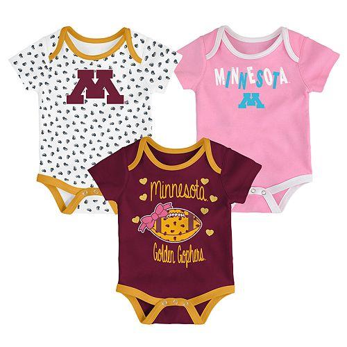 Baby Minnesota Golden Gophers Heart Fan 3-Pack Bodysuit Set