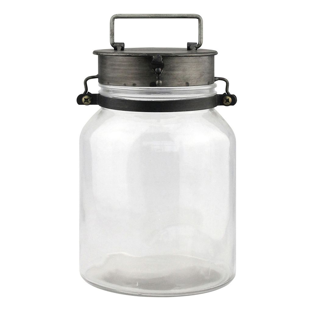 Stonebriar Collection Glass Tin Pillar Candle Holder