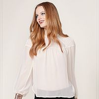 LC Lauren Conrad Runway Collection Pintuck Peasant Top - Women's