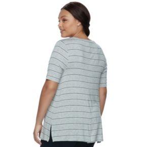 Juniors' Plus Size SO® Elbow Sleeve Tunic Tee