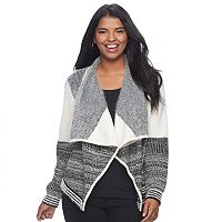 Juniors' Plus Size Candie's® Print Waterfall Cardigan