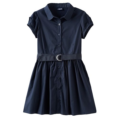 Girls 4-16 Chaps Poplin Belted Shirtdress