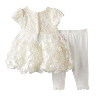 Baby Girl Nannette Lace Rosette Dress & Leggings Set