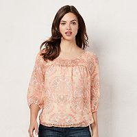 Women's LC Lauren Conrad Pintuck Peasant Top