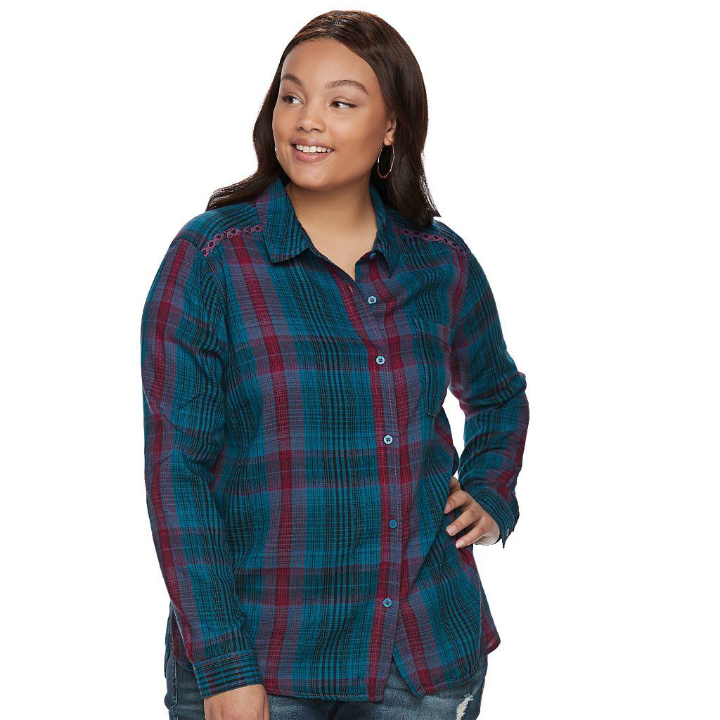 Juniors' Plus Size Mudd® Plaid Flannel Shirt