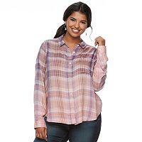 Juniors' Plus Size Mudd® Plaid Flannel Shirt