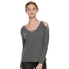 Women's Rock & Republic® Gray Strappy Cold-Shoulder Tee