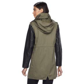 Women's Apt. 9® Hooded Faux-Leather Jacket