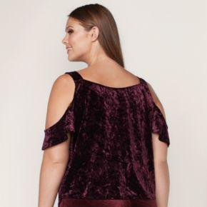 LC Lauren Conrad Runway Collection Velvet Cold-Shoulder Top - Plus Size
