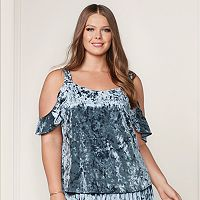 LC Lauren Conrad Runway Collection Velvet Cold-Shoulder Top - Plus Size
