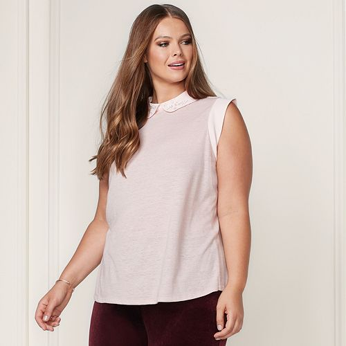 LC Lauren Conrad Runway Collection Embellished Collar Top - Plus Size