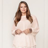LC Lauren Conrad Runway Collection Pintuck Peasant Top - Plus Size