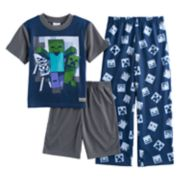 Boys 4-10 Minecraft 3-Piece Pajama Set