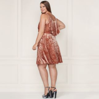 LC Lauren Conrad Runway Collection Velvet Popover Slip Dress - Plus Size