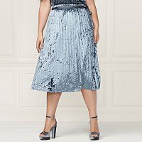 LC Lauren Conrad Runway Collection Pleated Velvet Skirt - Plus Size