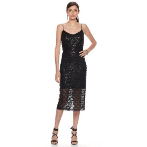 Women's Hope & Harlow Sequin Lace Midi Sheath Dress