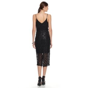 Women's Hope & Harlow Sequin Lace Midi Sheath Dress