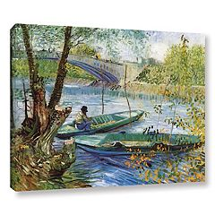 ArtWall Fishing In Spring, The Pont de Clichy Canvas Wall Art by Vincent Van Gogh