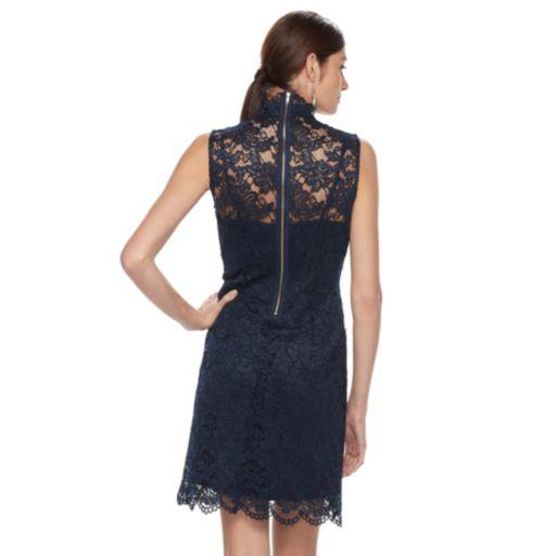 Women's Hope & Harlow Sleeveless Floral Eyelet Keyhole Dress