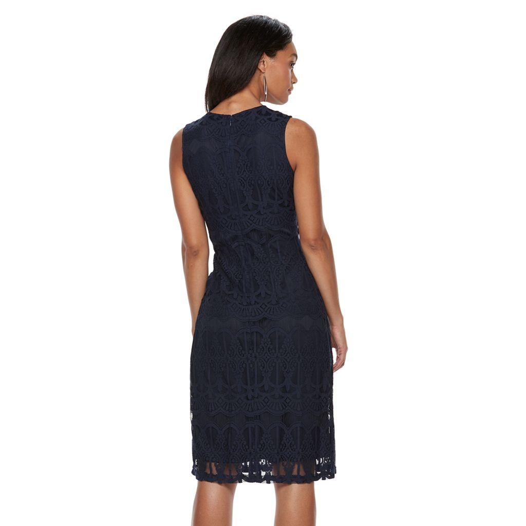 Women's Sharagano Sleeveless Lace Midi Dress