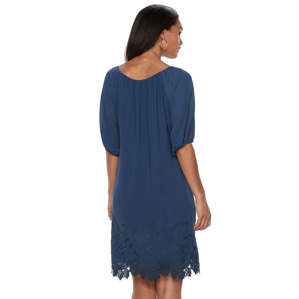 Women's Sharagano Chiffon Keyhole Dress