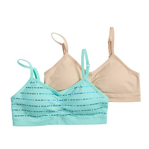 Girls 7-16 Maidenform® 2-pk. Seamless Ruched Cropped Bras