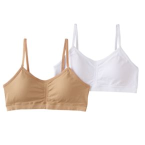 Girls 7-16 Maidenform 2-pk. Seamless Ruched Cropped Bras