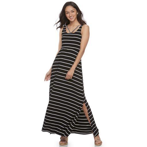 Juniors' SO® Strappy Scoopneck Maxi Dress