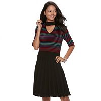 Juniors' Candie's Striped Choker Skater Dress