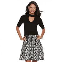 Juniors' Candie's Cutout Choker Skater Dress