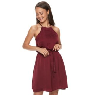 Juniors' Lily Rose Satin Halter Dress