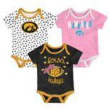 Baby Iowa Hawkeyes Heart Fan 3-Pack Bodysuit Set