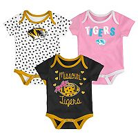 Baby Missouri Tigers Heart Fan 3-Pack Bodysuit Set