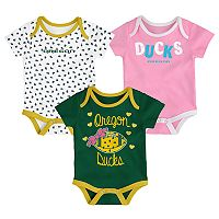Baby Oregon Ducks Heart Fan 3-Pack Bodysuit Set
