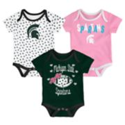 Baby Michigan State Spartans Heart Fan 3-Pack Bodysuit Set