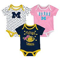 Baby Michigan Wolverines Heart Fan 3-Pack Bodysuit Set