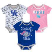 Baby Kentucky Wildcats Heart Fan 3-Pack Bodysuit Set