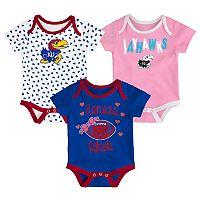 Baby Kansas Jayhawks Heart Fan 3-Pack Bodysuit Set