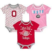 Baby Ohio State Buckeyes Heart Fan 3-Pack Bodysuit Set