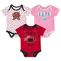 Baby Maryland Terrapins Heart Fan 3-Pack Bodysuit Set