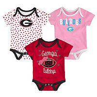 Baby Georgia Bulldogs Heart Fan 3-Pack Bodysuit Set