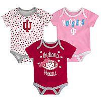 Baby Indiana Hoosiers Heart Fan 3-Pack Bodysuit Set