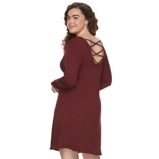 Juniors' Plus Size SO® Lace-Up Back Skater Dress