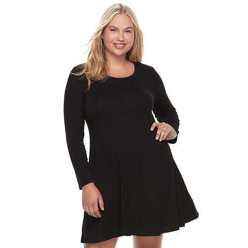 Juniors Plus Size So Lace Up Back Skater Dress