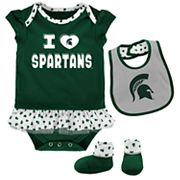Baby Michigan State Spartans Team Love Bodysuit Set