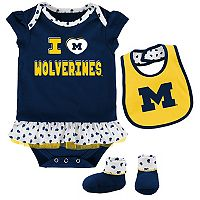 Baby Michigan Wolverines Team Love Bodysuit Set
