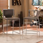 Baxton Studio Montclare Faux-Leather Counter Stool 2-piece Set
