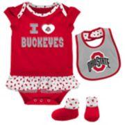 Baby Ohio State Buckeyes Team Love Bodysuit Set