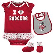 Baby Wisconsin Badgers Team Love Bodysuit Set