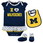 Baby Michigan Wolverines Team Love Bodysuit Set